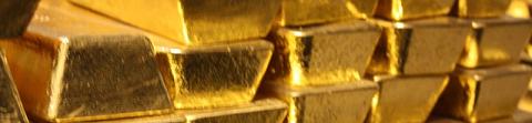 Lingots d'or dans un coffre fort