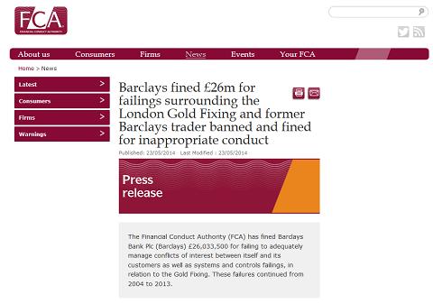 Annonce de la FCA concernant l'amende de Barclays