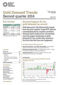 Rapport du World Gold Council pour le second trimestre 2016